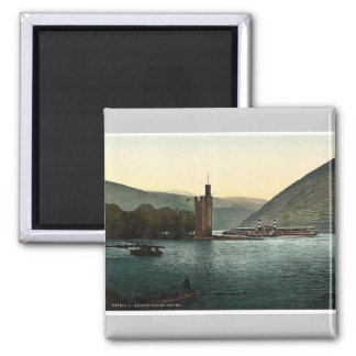 The Mouse Tower, Bingen, the Rhine, Germany magnif 2 Inch Square Magnet