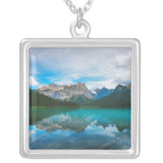The Moutains and Blue Water Silver Plated Necklace