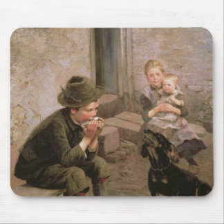 The Mouth Organ Player Mouse Pad