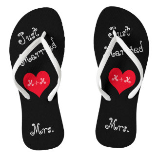 The Mrs. of Mr. & Mrs. Just Married Flip Flops