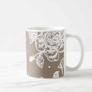 The mug with graphic rose flower patterns