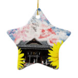 The Muko mallow and Daikoku it causes, the cat Ceramic Ornament