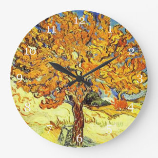 The Mulberry Tree, Vincent van Gogh. Vintage art Large Clock