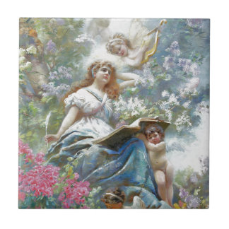 The Muse of Poesie by Konstantin Makovsky Small Square Tile