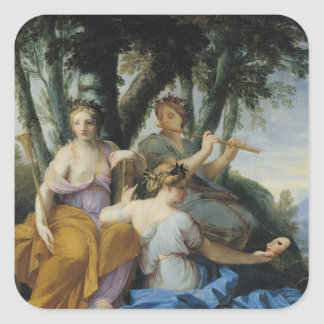 The Muses, Clio, Euterpe and Thalia, c.1652-55 Square Sticker