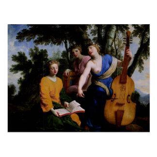 The Muses Melpomene, Erato and Polymnia, 1652-55 Postcard