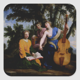 The Muses Melpomene, Erato and Polymnia, 1652-55 Square Sticker