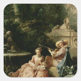 The Music Lesson, 1749 Square Sticker