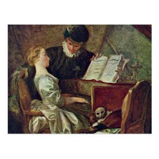 The Music Lesson,  By Fragonard, Jean-Honoré (Best Postcard