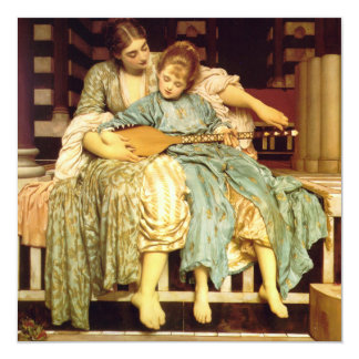 The Music Lesson by Frederic Leighton 5.25x5.25 Square Paper Invitation Card