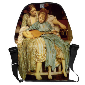 The Music Lesson by Frederic Leighton Messenger Bag