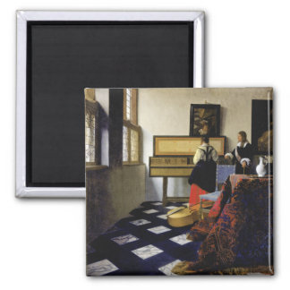 The Music Lesson by Johannes Vermeer 2 Inch Square Magnet