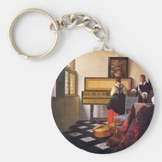 The music lesson by Johannes Vermeer Keychain