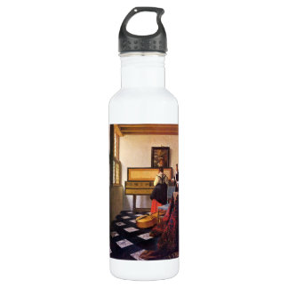 The music lesson by Johannes Vermeer 24oz Water Bottle