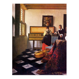 The music lesson by Johannes Vermeer Post Card
