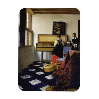 The Music Lesson by Johannes Vermeer Rectangular Magnets