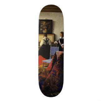 The Music Lesson by Johannes Vermeer Custom Skateboard
