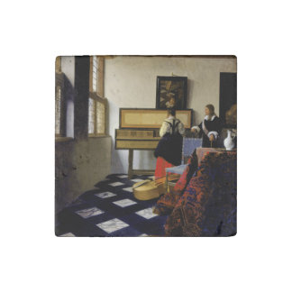 The Music Lesson by Johannes Vermeer Stone Magnet