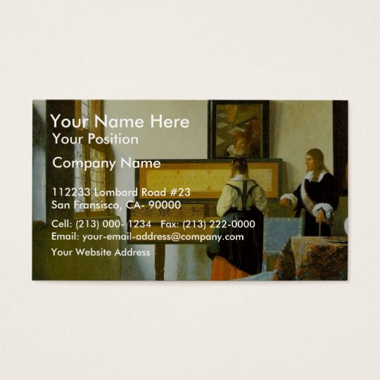 The Music Lesson By Vermeer Van Delft Jan Business Card