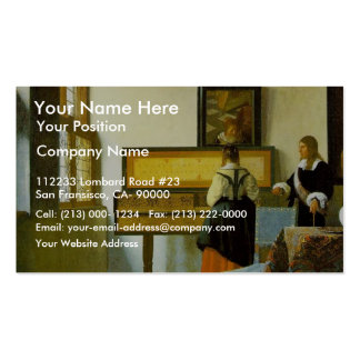 The Music Lesson By Vermeer Van Delft Jan Double-Sided Standard Business Cards (Pack Of 100)