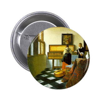 The Music Lesson By Vermeer Van Delft Jan Pinback Button