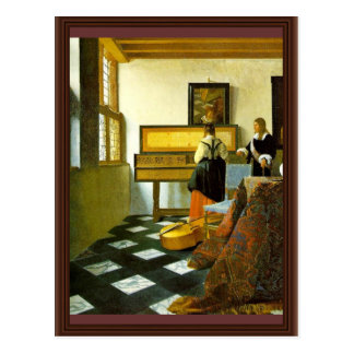 The Music Lesson By Vermeer Van Delft Jan Postcards