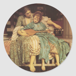 The Music Lesson - Lord Frederic Leighton Round Sticker