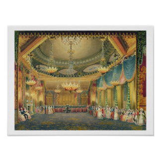 The Music Room, from 'Views of the Royal Pavilion, Poster