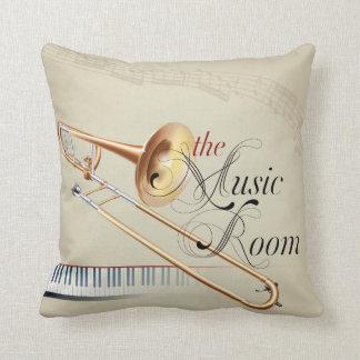 the Music Room Trombone Throw Pillow
