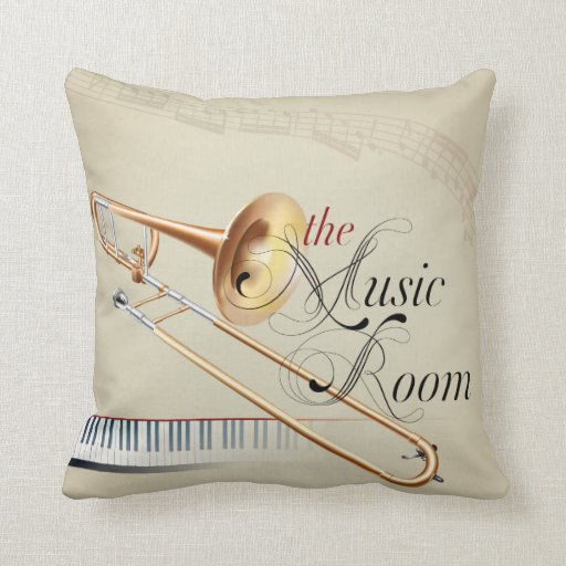 the Music Room Trombone Throw Pillow Zazzle