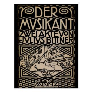 The Musician by: Koloman Moser 1909 Postcard
