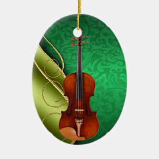 The Musician Double-Sided Oval Ceramic Christmas Ornament