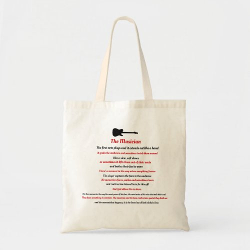 The Musician poem Tote Bag