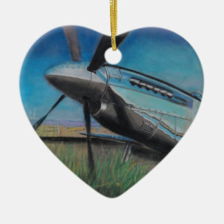 The Mustang Double-Sided Heart Ceramic Christmas Ornament