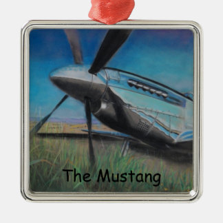 The Mustang Square Metal Christmas Ornament