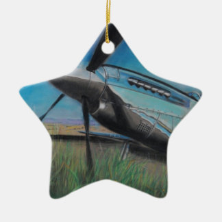 The Mustang Double-Sided Star Ceramic Christmas Ornament