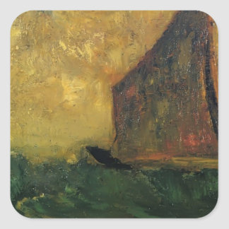 The Mysterious Boat by Odilon Redon Square Sticker
