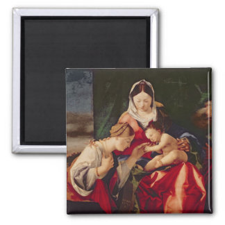 The Mystic Marriage of Saint Catherine, 1505/8 2 Inch Square Magnet
