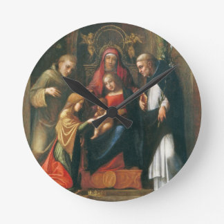 The Mystic Marriage of Saint Catherine Round Wall Clocks