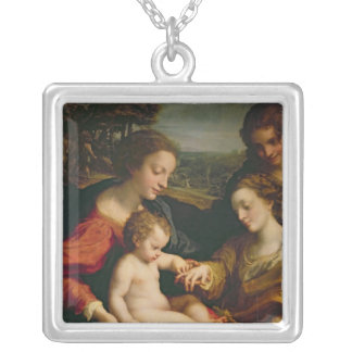 The Mystic Marriage of St. Catherine of Silver Plated Necklace