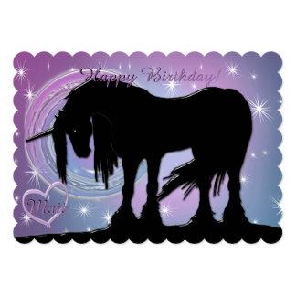 The Mystical Black Unicorn Birthday (Pastel Swirl) Card