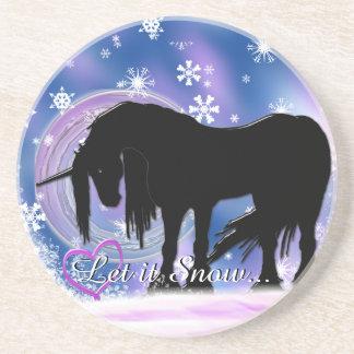 The Mystical Black Unicorn (Let It Snow) Coaster