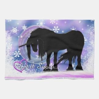 The Mystical Black Unicorn (Let It Snow) Kitchen Towels