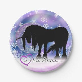 The Mystical Black Unicorn (Let It Snow) Paper Plate