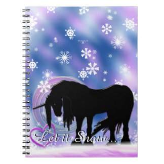 The Mystical Black Unicorn (Let It Snow) Spiral Notebook