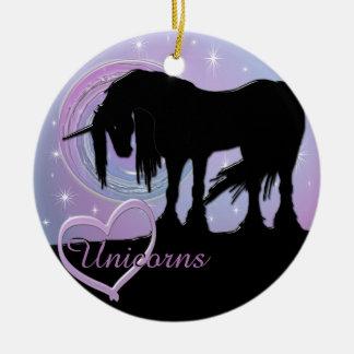 The Mystical Black Unicorn (Pastel Swirl) Ceramic Ornament