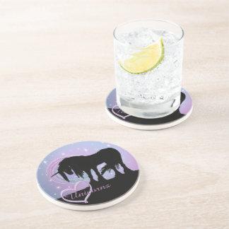 The Mystical Black Unicorn (Pastel Swirl) Drink Coaster