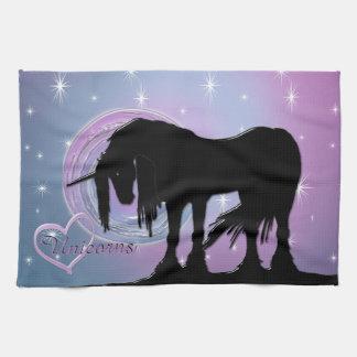 The Mystical Black Unicorn (Pastel Swirl) Hand Towel