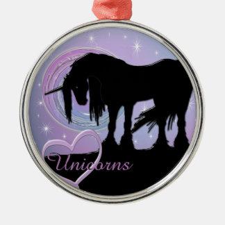 The Mystical Black Unicorn (Pastel Swirl) Metal Ornament