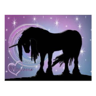 The Mystical Black Unicorn (Pastel Swirl) Postcard